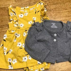 Carter's 3M Dress and Cardigan Set NWOT 🖤